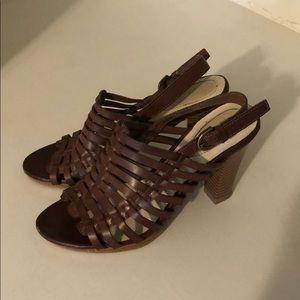 caramel strappy heels